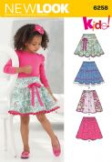 6258 New Look Pattern: Child's and Girls' Circle Skirts